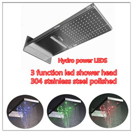 New design 3 function LED shower head wall mounted 3 color change blue green red bathroom shower head rain shower