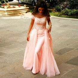 Off The Shoulder Pink Evening Dresses With Short Sleeves Appliques Tulle Floor Length Custom Made Arabic Pink Long Prom Dresses Formal Gowns