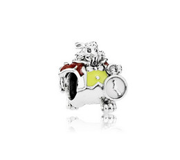 Disny White Rabbit Charms Fits Silver Charms Bracelets Red&Yellow Enamel Disny Jewelry 925 Sterling Silver 2016 Spring Jewelry