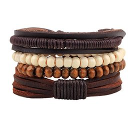 Wholesale 2016 street fashion leather hand woven veneer wood beads multi circle Beaded DIY Bracelet