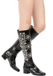 Wholesale Top Famous Brand Name Women Black Luxury Mid calf Long Boots Lady Pointed Toe Rhinestone Crystal Girl Cool Motorcycle Shoes Boot