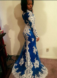 Formal 216 Mermaid ROyal BLue Evening Dresses With White Lace Appliques Sweep Train Long Sleeves Arfic Dubai Prom Gowns