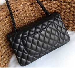 Wholesale Stripes Ribbons - 1:1 original 1112 1113 Free Shipping 25.5cm-30cm Quilted Chain Lambskin Black Chain Double Flaps Bag Women's Genuine Leather Should