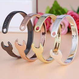 Wholesale NEW Men and Women s Vintage ROUILLE Opening Of Wrench Bracelet Titanium Steel Bangle Wedding Jewelry Best Gifts