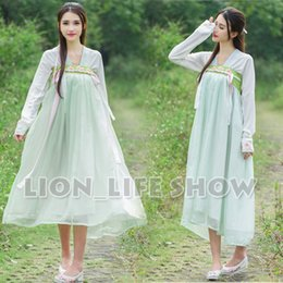 Wholesale-summer Women Chinese Tang Dynasty Ruqun Hanfu Green Long Sleeve Chiffon Dress Costume