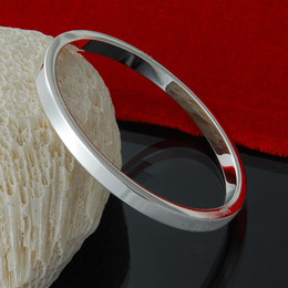 Factory direct wholesale 925 sterling silver line solid circle bracelet bangle Fashion Silver Jewelry Silver Bracelet
