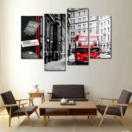 4 Panel Wall Art Painting Red London Bus In Black And White Paintings For Living Room Decor City Pictures Photo Prints On Canvas