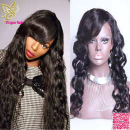 Brazilian Loose Wave Lace front Human Hair Wigs With Bangs Unprocessed Human Hair Full Lace Wig Wavy For Black Women