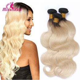 Wholesale Brazilian Body Wave b Colored Two Tone Hair Weave Blonde Human Hair Dark Roots Ombre Human Hair