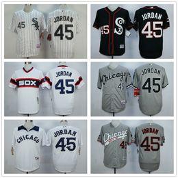 Wholesale 2016 New Cheap MLB White Sox Michael Jordan Birmingham Barons Button Down Black Throwback Baseball Jersey Embroidery Logos