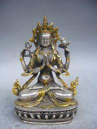 Wholesale Tibet silver gold plated statue of Tibetan Buddhism the Buddha white tara cm