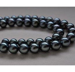 Eleglant 10-11mm south sea round black blue pearl necklace 18inch 14k gold clasp