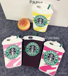 Cas transparents pour iphone 4s en Ligne-Pour Iphone 7 Plus 5S 4S 3D Marque de luxe Starbucks Coffee Cup Coque arrière en silicone souple pour Iphone 6 6plus