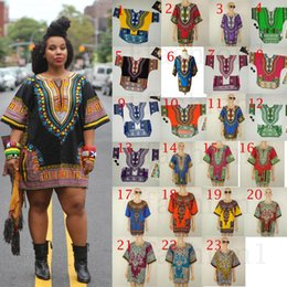 20P African Dashiki Dresses For Women Men African Clothes Hippie Shirt Caftan Vintage Unisex Tribal Mexican Top Bazin Riche Ethnic Clothing