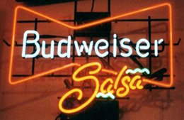 "Budweiser Salsa Neon Sign Handmade Custom Real Glass Tube Store Beer Bar Sport Game Room Club Advertising Display Neon Signs 17""X14"""