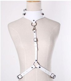 Wholesale-GARTER COLLAR HARNESS minimal & sleek detachable adjustable sexy body harness with leather straps fasten at waist