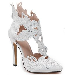 Wholesale 2016 Rhinestone Lace Sandals Women Pointed Toe Stilettos Leaf Pieced Wedding Shoes Sexy Summer Autumn
