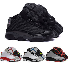 wholesale Cheap Retro 13 Basketball Shoes Men 2016 High Cut Boots High Quality All black Sneakers Sports Shoes Free Shipping 41-47