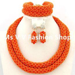 2 rows silver jewellery orange Wedding African Beads Jewelry Set Dubai 18k Gold Jewelry Set Bridal necklace bracelet earrings jewelry cheap