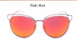 Gafas de sol de color rosa en Línea-2016 Primera marca de lujo Sideral Gafas de sol redondas manera de las mujeres de la vendimia del gato de metal gafas de sol del ojo rosa de las señoras de cristal del espejo