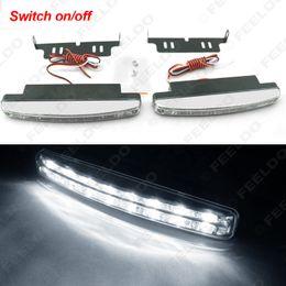 2pcs set 8-LED White Automatic Switch ON OFF Fog Light Euro Car DRL Daytime Runing Light #2467