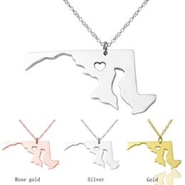 Wholesale Stainless Steel Heart Shaped Necklace - Massachusetts State &Maryland State necklace pendants, Custom S925 Silver Charm map Necklaces , State Shaped Necklace With A Heart wholesale