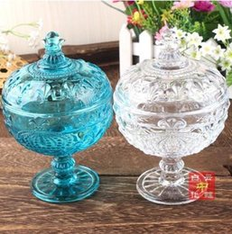 Wholesale 1PCS Continental Crown retro embossed glass sugar bowl sugar bowl with lid coffee tea candy jar retro range