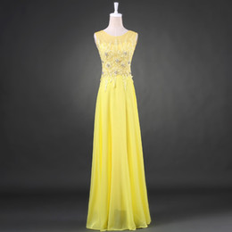 Yellow Scoop Neck Lace Chiffon Bridesmaid Dress With Crystal 2018 Long Bridesmaid Gowns Elegant Wedding Party Dress