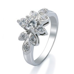 Women's Fashion Bridal Engagement Ring 18k White Gold Plated GP Wedding Party Jewelry Perfect Gift for Lover