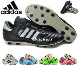 Wholesale Originals Adidas Mens Copa Mundial Leather FG Soccer Boots World Cup Soccer Shoes Black Orange Cleats Athletic Football Shoe botines futbol