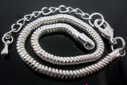 Wholesale in Bulk Low Price 20pcs Lot Copper base Silver Plated Lobster Clasp Snake Chain 3mm Bracelets 20cm+7cm Fit European Charms Beads
