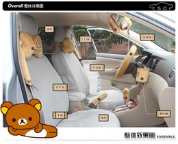 Wholesale 10pcs unit Fashion Auto Accessories Rilakkuma Cartoon Bear Car Upholstery Steering wheel cover pillow Universal Automotive interior