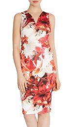 Flower Print Women Sheath Dress V-Neck Sleeveless Casual Dresses 072010