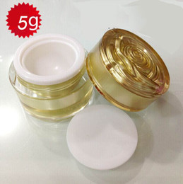 empty 5G Gold cream jar,plastic empty cosmetic container cream jar with flower lid ,5g Cosmetic Packaging cosmetic container