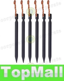 Wholesale LAI cm I Aluminium Alloy Tent Peg Nail Stake with Rope Camping Equipment Outdoor Beach Red Sliver Black