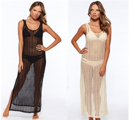 Wholesale Beach Long Dress Summer Style Women Sexy Swimwear Bikini Cover Up Hollow Mesh Beach Long Dress Sleeveless Bath Beach Long Chiffon Dress