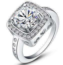 new design 925 sterling swiss CZ Diamond Wedding Ring Platinum Plated Top quality fashion jewelry