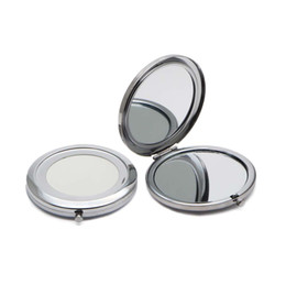Wholesale Compact Mirror DIY Portable Metal Cosmetic Mirror X Magnifying Silver Color Lo t M070KS