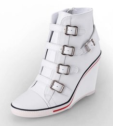 Wholesale Hot Products ASH Ankle Boots Shoes Thelma Bis Wedge Sneakers White Leather On Hot Sale High Top Tide Women Shoes Size