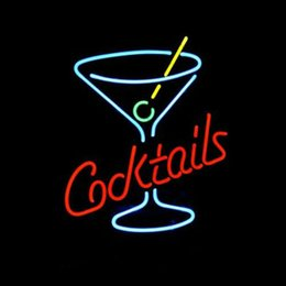 Cocktails Martini Glass LOGO BEER BAR REAL Real Glass Neon Light Sign Home Beer Bar Pub Recreation Room Game Room Windows Garage Wall Sign