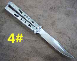 Wholesale balisong MICROTECH Tachyon II light ion bowie tanto drop point stonewashed CM blade Free swinging Folding flail knife
