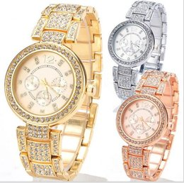 2016 New Fashion Geneva Watch Women Dress Watches Rose gold Full Steel Analog Quartz men Ladies Rhinestone Wrist watches