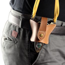 Wholesale Bat Design Genuine Leather Hunting Slingshot Pouch Bag Case Catapult Belt Holster Open Bottom