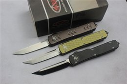 Wholesale Microtech Ultratech style Double action Knives Cr13Mov steel Satin Plain T6 aluminum handle Tactical knife styles available