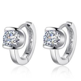 Wholesale 925 sterling silver Stud earrings jewelry luxury Crystal Rhinestone zircon drill allergy Hook Circle Clip earrings EH043