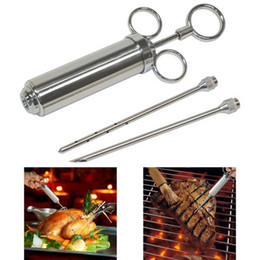 Wholesale Grill Stainless Steel Meat Injector Syringe Kit with oz Barrel and Marinade Needles Meat Poultry Turkey Chicken BBQ Tool