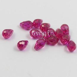 AAA 4x6mm lab created ruby#5 teardrop shape top drilled loose stones