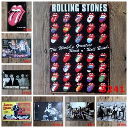 Wholesale Vintage Metal painting quot Rock band the Rolling Stones quot wall painting art wall stickers crafts Restaurant bar cafe home decoration x30 CM