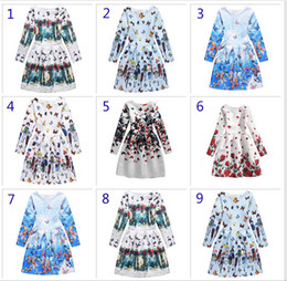 Wholesale 9 Design Big girl princess butterfly dress Free DHL Children fashion Cartoon Print long sleeve Dresses baby Clothing B001