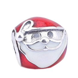 Wholesale Christmas Santa mm Beads Antique Silver Beads Pandora Charms Sterling Silver Red Round Beads PD0037 G
